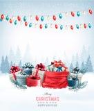 Χριστουγεννιάτικα δώρα με μια γιρλάντα και ένα σύνολο σάκων των κιβωτίων δώρων Στοκ φωτογραφία με δικαίωμα ελεύθερης χρήσης