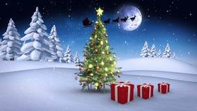 Χριστουγεννιάτικα δώρα που αναπηδούν γύρω από το δέντρο στη χειμερινή ρύθμιση απεικόνιση αποθεμάτων