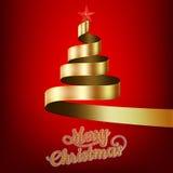 Χριστουγεννιάτικο δέντρο από τη χρυσά κορδέλλα και το αστέρι 10 eps Στοκ φωτογραφία με δικαίωμα ελεύθερης χρήσης