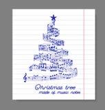 Χριστουγεννιάτικο δέντρο από τις σημειώσεις μουσικής διανυσματική απεικόνιση