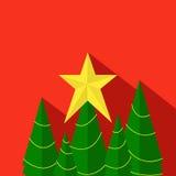 Χριστουγεννιάτικο δέντρο & αστέρι Διανυσματική απεικόνιση