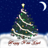Χριστουγεννιάτικο δέντρο για το νέο έτος μειωμένο χιόνι συγχαρητήρια Στοκ Εικόνες