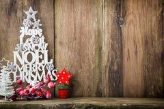 Χριστουγεννιάτικο δέντρο, επιθυμία Noel, ερυθρελάτες των επιστολών στοκ εικόνα με δικαίωμα ελεύθερης χρήσης