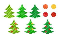 Χριστουγεννιάτικο δέντρο και διανυσματικό σύνολο διακοσμήσεων Στοκ Φωτογραφίες