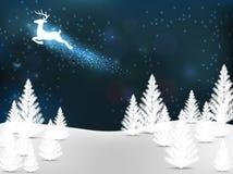 Χριστουγεννιάτικο δέντρο και πετώντας τάρανδος Στοκ Φωτογραφία