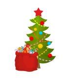 Χριστουγεννιάτικο δέντρο και τσάντα Άγιος Βασίλης με τα δώρα Κόκκινος σάκος των παιχνιδιών Στοκ Εικόνες