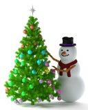 Χριστουγεννιάτικο δέντρο και χιονάνθρωπος Στοκ Φωτογραφίες