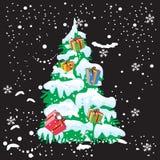 Χριστουγεννιάτικο δέντρο και χιόνι με το υπόβαθρο Χριστουγέννων και το διάνυσμα ευχετήριων καρτών Στοκ εικόνα με δικαίωμα ελεύθερης χρήσης