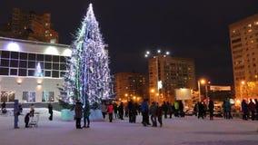 Χριστουγεννιάτικο δέντρο κοντά στην κύρια λεωφόρο απόθεμα βίντεο