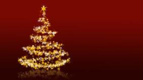 Χριστουγεννιάτικο δέντρο με τα ακτινοβολώντας αστέρια στο κόκκινο υπόβαθρο Ελεύθερη απεικόνιση δικαιώματος