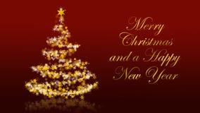 Χριστουγεννιάτικο δέντρο με τα ακτινοβολώντας αστέρια στο κόκκινο υπόβαθρο, αγγλικοί χαιρετισμοί εποχών Απεικόνιση αποθεμάτων