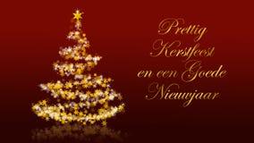 Χριστουγεννιάτικο δέντρο με τα ακτινοβολώντας αστέρια στο κόκκινο υπόβαθρο, ολλανδικοί χαιρετισμοί εποχών Στοκ Φωτογραφίες