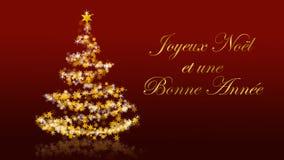 Χριστουγεννιάτικο δέντρο με τα ακτινοβολώντας αστέρια στο κόκκινο υπόβαθρο, γαλλικοί χαιρετισμοί εποχών Απεικόνιση αποθεμάτων