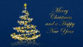Χριστουγεννιάτικο δέντρο με τα ακτινοβολώντας αστέρια στο μπλε υπόβαθρο, αγγλικοί χαιρετισμοί εποχών Διανυσματική απεικόνιση