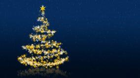 Χριστουγεννιάτικο δέντρο με τα ακτινοβολώντας αστέρια στο μπλε υπόβαθρο, πολύγλωσσοι χαιρετισμοί εποχών Ελεύθερη απεικόνιση δικαιώματος
