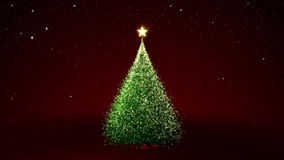 Χριστουγεννιάτικο δέντρο με τα κίτρινα φω'τα στο δέντρο διανυσματική απεικόνιση