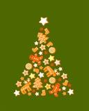 Χριστουγεννιάτικο δέντρο με τα μπισκότα Στοκ Εικόνες