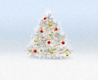 Χριστουγεννιάτικο δέντρο με τη ευχετήρια κάρτα διακοσμήσεων Στοκ φωτογραφία με δικαίωμα ελεύθερης χρήσης