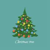 Χριστουγεννιάτικο δέντρο με τις γιρλάντες και τις σφαίρες στο ύφος κινούμενων σχεδίων σύμβολο Στοκ Φωτογραφίες