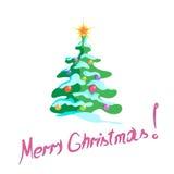 Χριστουγεννιάτικο δέντρο με τις διακοσμήσεις σε ένα άσπρο υπόβαθρο Στοκ εικόνα με δικαίωμα ελεύθερης χρήσης