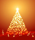 Χριστουγεννιάτικο δέντρο με τις μουσικές νότες Στοκ φωτογραφίες με δικαίωμα ελεύθερης χρήσης