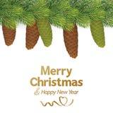Χριστουγεννιάτικο δέντρο με τον κώνο πεύκων απεικόνιση αποθεμάτων