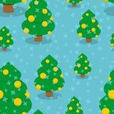 Χριστουγεννιάτικο δέντρο με το άνευ ραφής σχέδιο σφαιρών Στοκ Εικόνα