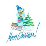 Χριστουγεννιάτικο δέντρο με το χιονάνθρωπο και έλκηθρο σε ένα άσπρο υπόβαθρο Στοκ Φωτογραφίες