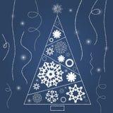 Χριστουγεννιάτικο δέντρο με snowflakes και κορδελλών το μπλε Απεικόνιση αποθεμάτων