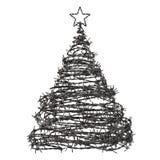 Χριστουγεννιάτικο δέντρο που γίνεται από οδοντωτό - καλώδιο Στοκ Φωτογραφίες