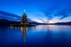 Χριστουγεννιάτικο δέντρο που επιπλέει σε μια λίμνη μετά από το ηλιοβασίλεμα στοκ φωτογραφίες