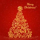 Χριστουγεννιάτικο δέντρο, που διακοσμείται με ένα λεπτό σχέδιο με τη χρυσή σύσταση Στοκ Εικόνες