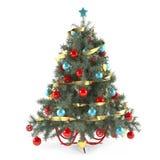 Χριστουγεννιάτικο δέντρο που διακοσμείται με τα παιχνίδια Στοκ Εικόνες
