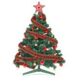 Χριστουγεννιάτικο δέντρο που διακοσμείται με τα παιχνίδια Στοκ εικόνα με δικαίωμα ελεύθερης χρήσης