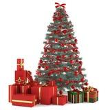 Χριστουγεννιάτικο δέντρο που διακοσμείται με τα παιχνίδια Στοκ Φωτογραφίες