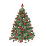 Χριστουγεννιάτικο δέντρο που διακοσμείται με τα παιχνίδια Στοκ Εικόνα