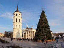 Χριστουγεννιάτικο δέντρο πόλεων, Vilnius, Λιθουανία Στοκ Εικόνες