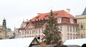 Χριστουγεννιάτικο δέντρο στην παλαιά πλατεία της πόλης στην Πράγα Στοκ Εικόνες