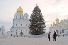 Χριστουγεννιάτικο δέντρο στη Μόσχα Κρεμλίνο Αρχάγγελοι και Annunciation εκκλησίες Στοκ Εικόνες