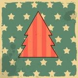 Χριστουγεννιάτικο δέντρο στο αναδρομικό υπόβαθρο. Στοκ εικόνες με δικαίωμα ελεύθερης χρήσης