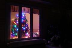 Χριστουγεννιάτικο δέντρο στο παράθυρο Στοκ εικόνα με δικαίωμα ελεύθερης χρήσης