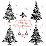 Χριστουγεννιάτικο δέντρο στο ύφος δερματοστιξιών Στοκ φωτογραφία με δικαίωμα ελεύθερης χρήσης