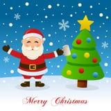 Χριστουγεννιάτικο δέντρο, χιόνι & μεθυσμένος Άγιος Βασίλης απεικόνιση αποθεμάτων