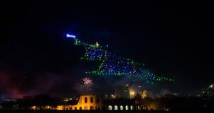 Χριστουγεννιάτικο δέντρο Gubbio με τα πυροτεχνήματα στη νέα παραμονή έτους ` s στοκ φωτογραφία με δικαίωμα ελεύθερης χρήσης