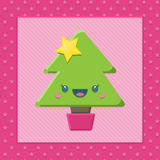 Χριστουγεννιάτικο δέντρο Kawaii κινούμενων σχεδίων Στοκ εικόνα με δικαίωμα ελεύθερης χρήσης