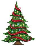 Χριστουγεννιάτικο δέντρο Watercolor που απομονώνεται στο άσπρο υπόβαθρο διανυσματική απεικόνιση