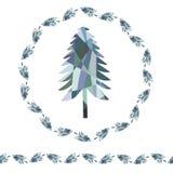 Χριστουγεννιάτικο δέντρο έλατου μωσαϊκών Στεφάνι και ατελείωτα σύνορα διανυσματική απεικόνιση