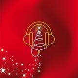 Χριστουγεννιάτικο δέντρο ακουστικών μουσικής Στοκ Φωτογραφία