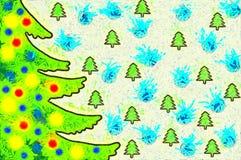 Χριστουγεννιάτικο δέντρο απεικόνισης με τα ζωηρόχρωμα παιχνίδια Στοκ Εικόνα