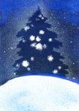 Χριστουγεννιάτικο δέντρο απεικόνισης στη χιονοθύελλα το χειμώνα στοκ φωτογραφία